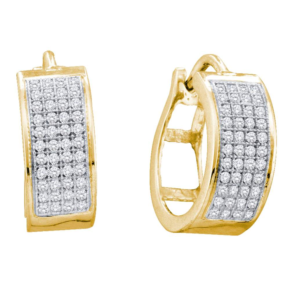 10kt Yellow Gold Womens Round Diamond Huggie Earrings 1/4 Cttw