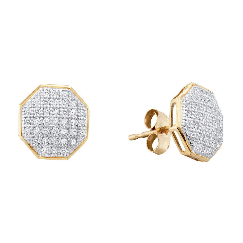 10kt Yellow Gold Womens Round Diamond Octagon Cluster Earrings 1/5 Cttw