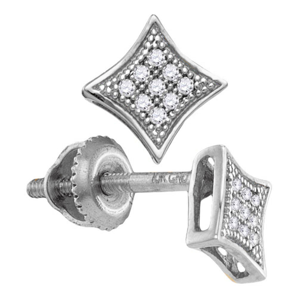 10kt White Gold Womens Round Diamond Square Kite Cluster Screwback Earrings 1/20 Cttw