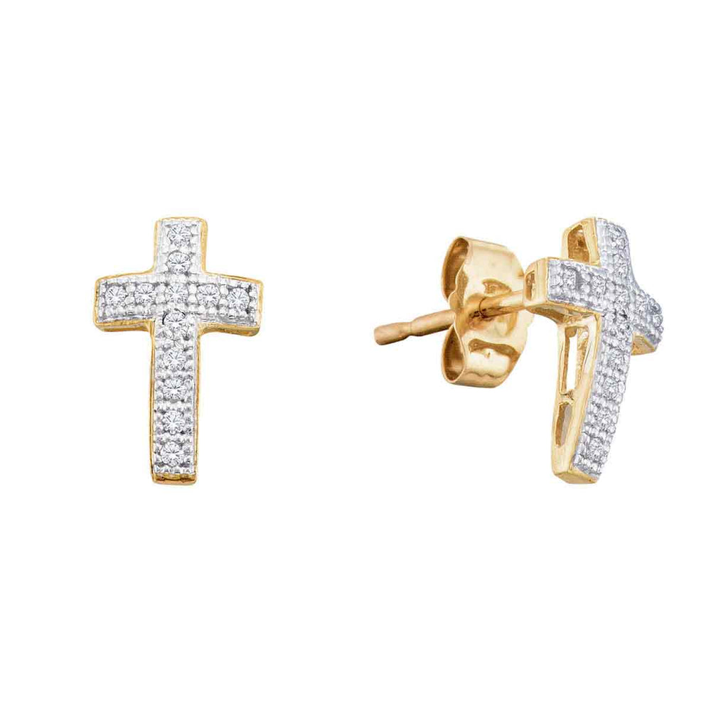 10kt Yellow Gold Womens Round Diamond Cross Stud Earrings 1/10 Cttw
