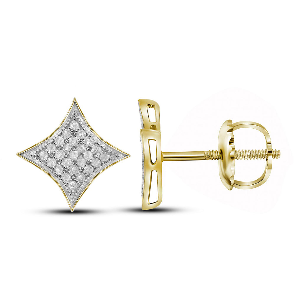 10kt Yellow Gold Womens Round Diamond Square Kite Cluster Stud Earrings 1/6 Cttw