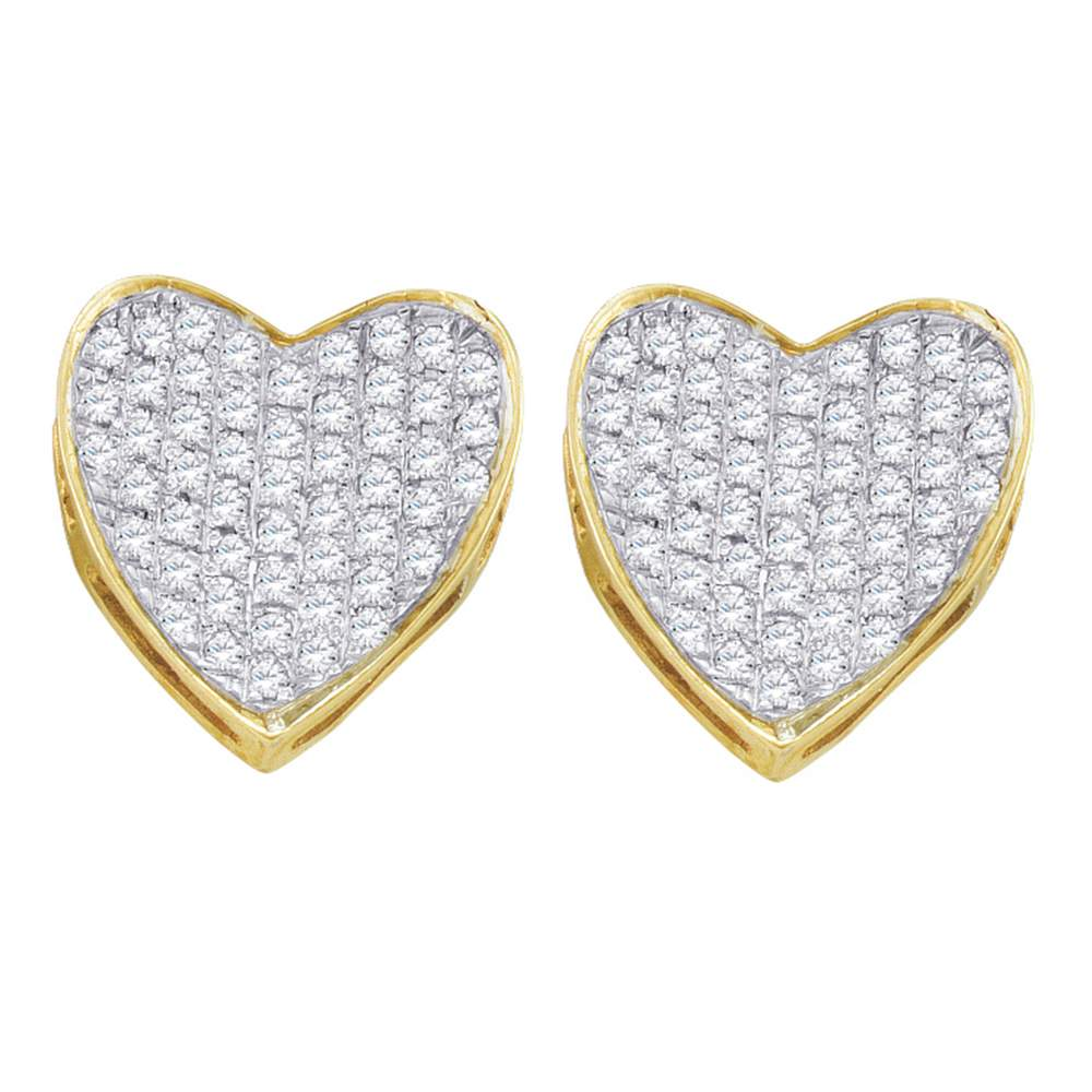 10kt Yellow Gold Womens Round Diamond Heart Love Cluster Earrings 1/3 Cttw