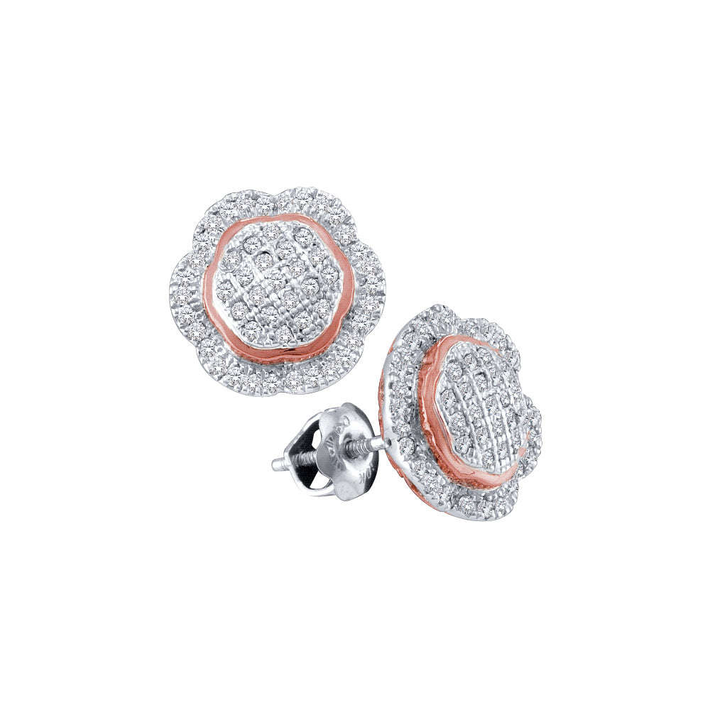 10kt White Gold Womens Round Diamond Rose-tone Frame Octagon Cluster Earrings 1/3 Cttw