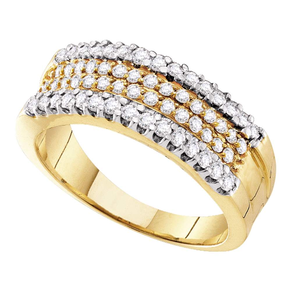 14kt Yellow Gold Womens Round Pave-set Diamond Four Row Band Ring 3/4 Cttw