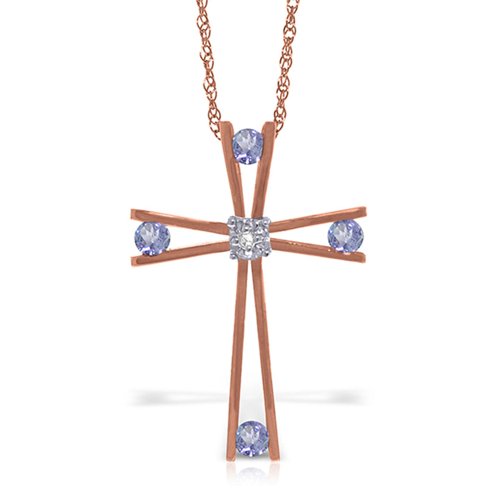 14K Solid Rose Gold Cross Necklace withNatural Diamond & Tanzanites