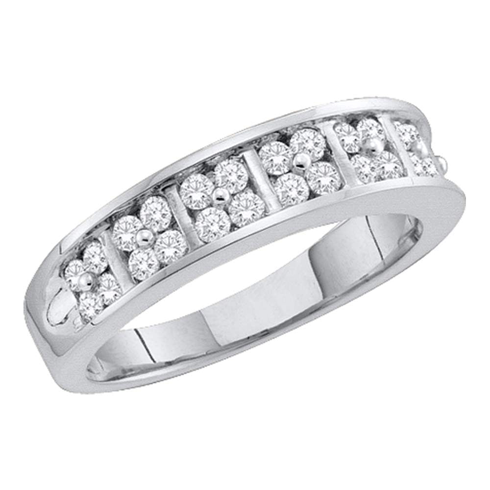 14kt White Gold Womens Round Diamond Double Row Band Ring 1/2 Cttw