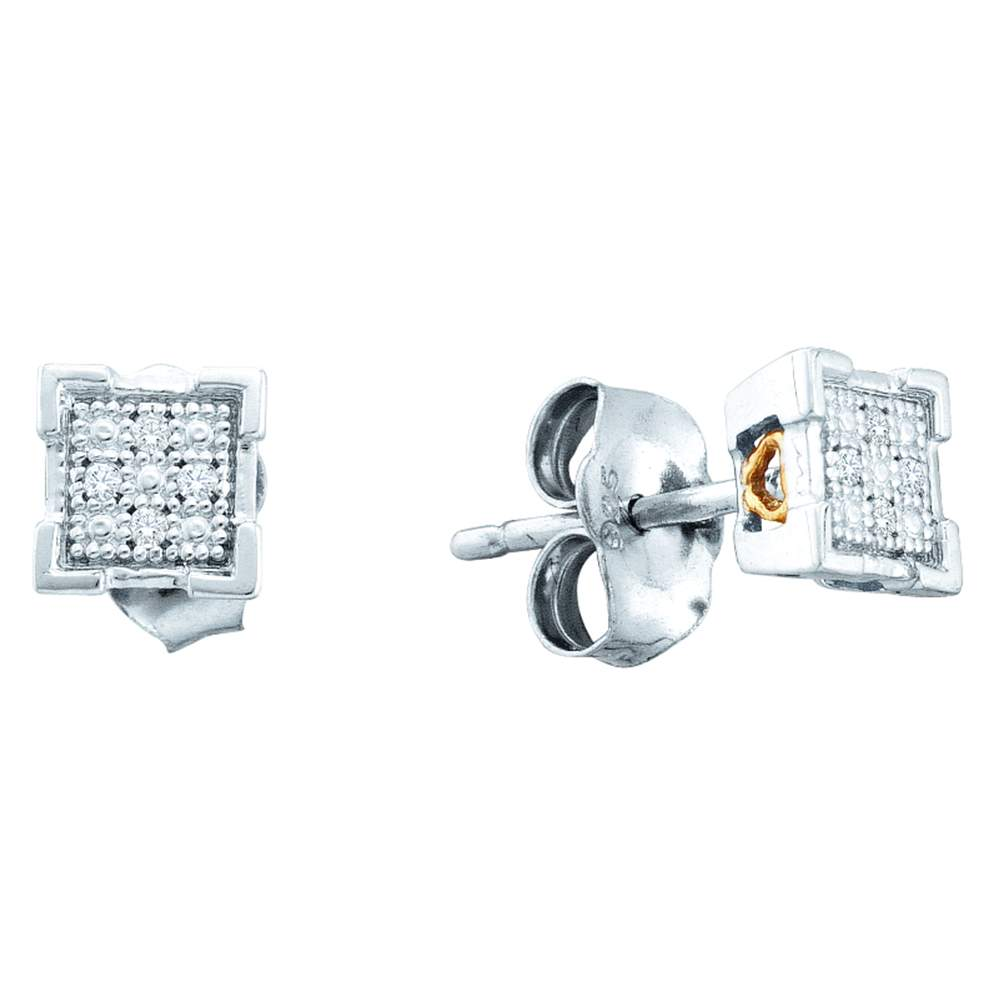 Sterling Silver Womens Round Diamond Square Cluster Screwback Earrings .03 Cttw