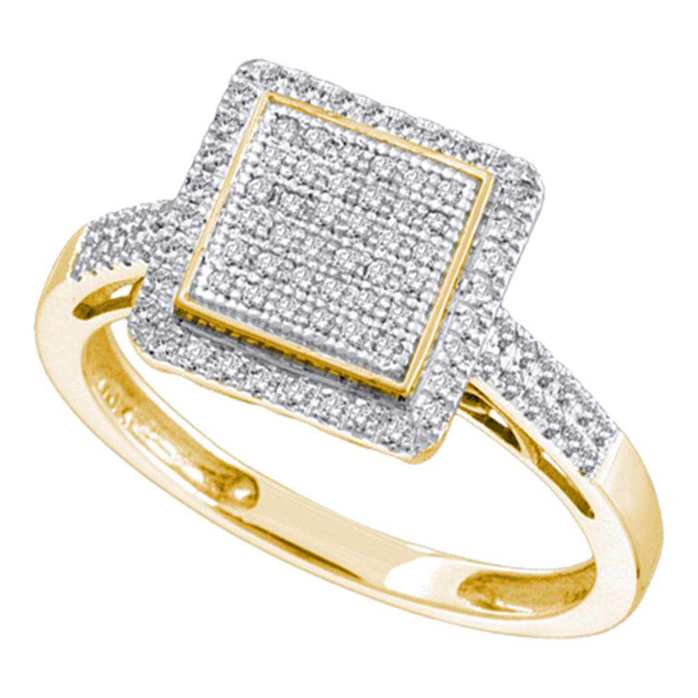 10kt Yellow Gold Womens Round Diamond Square Frame Cluster Ring 1/3 Cttw