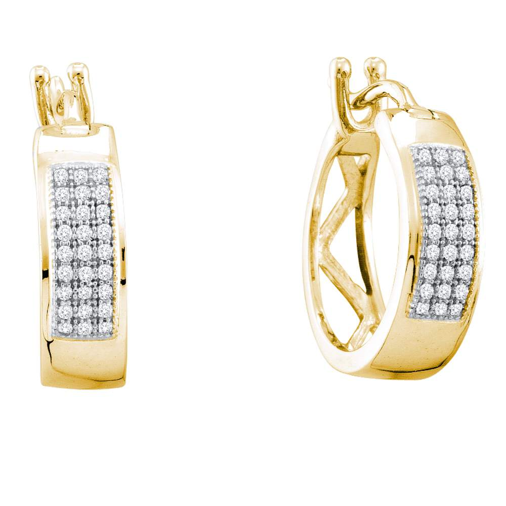 10kt Yellow Gold Womens Round Diamond Triple Row Hoop Earrings 1/6 Cttw