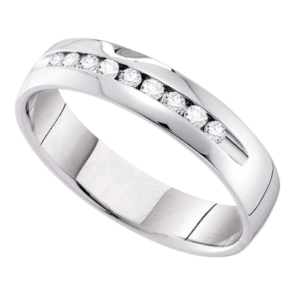 14k White Gold Womens Round Channel-set Diamond Bridal Wedding Anniversary Band 1/4 Cttw