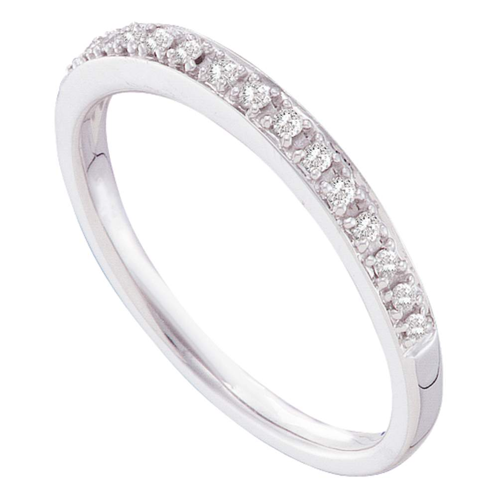 14kt White Gold Womens Round Prong-set Diamond Slender Band 1/8 Cttw