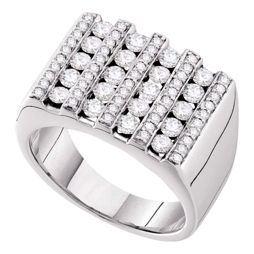 14kt White Gold Mens Round Channel-set Diamond Square Stripe Cluster Ring 1-1/2 Cttw