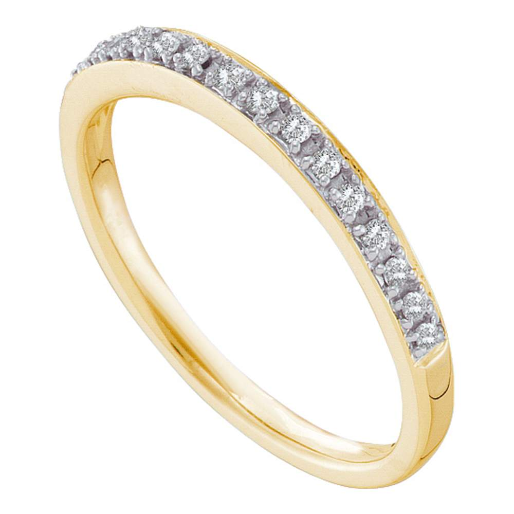 14kt Yellow Gold Womens Round Prong-set Diamond Slender Band 1/8 Cttw