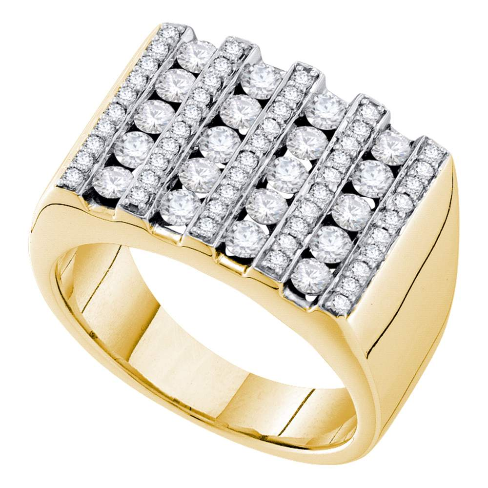 14kt Yellow Gold Mens Round Channel-set Diamond Square Stripe Cluster Ring 1-1/2 Cttw