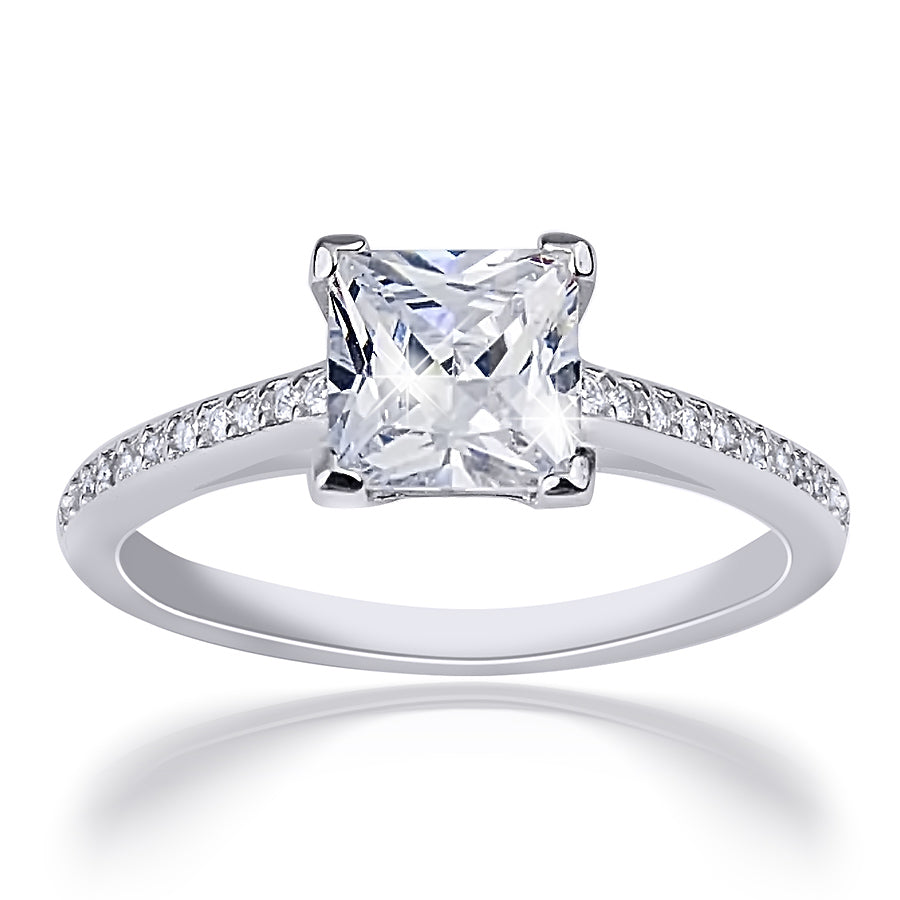 1.25 CT Carat Women's Engagement RING Sterling Silver Princess Cut