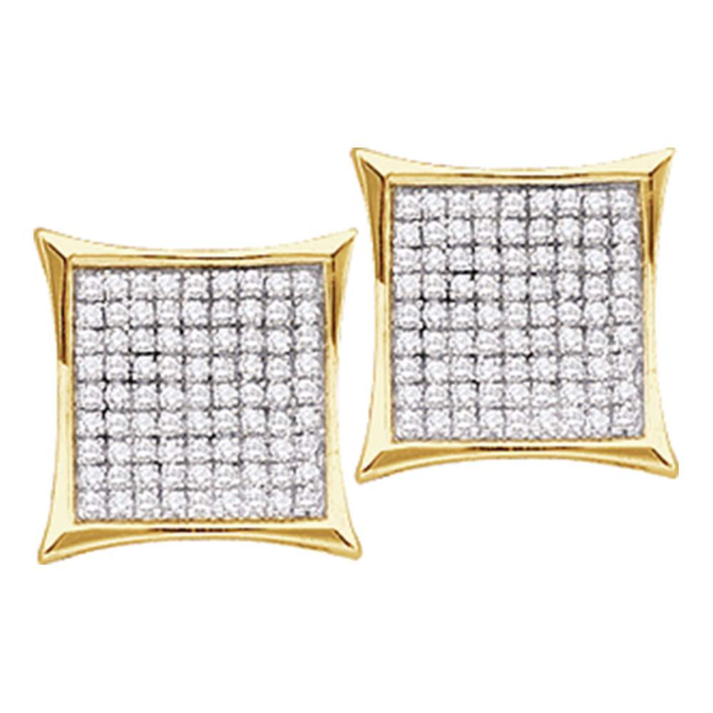 14kt Yellow Gold Womens Round Diamond Square Kite Cluster Stud Earrings 1/20 Cttw