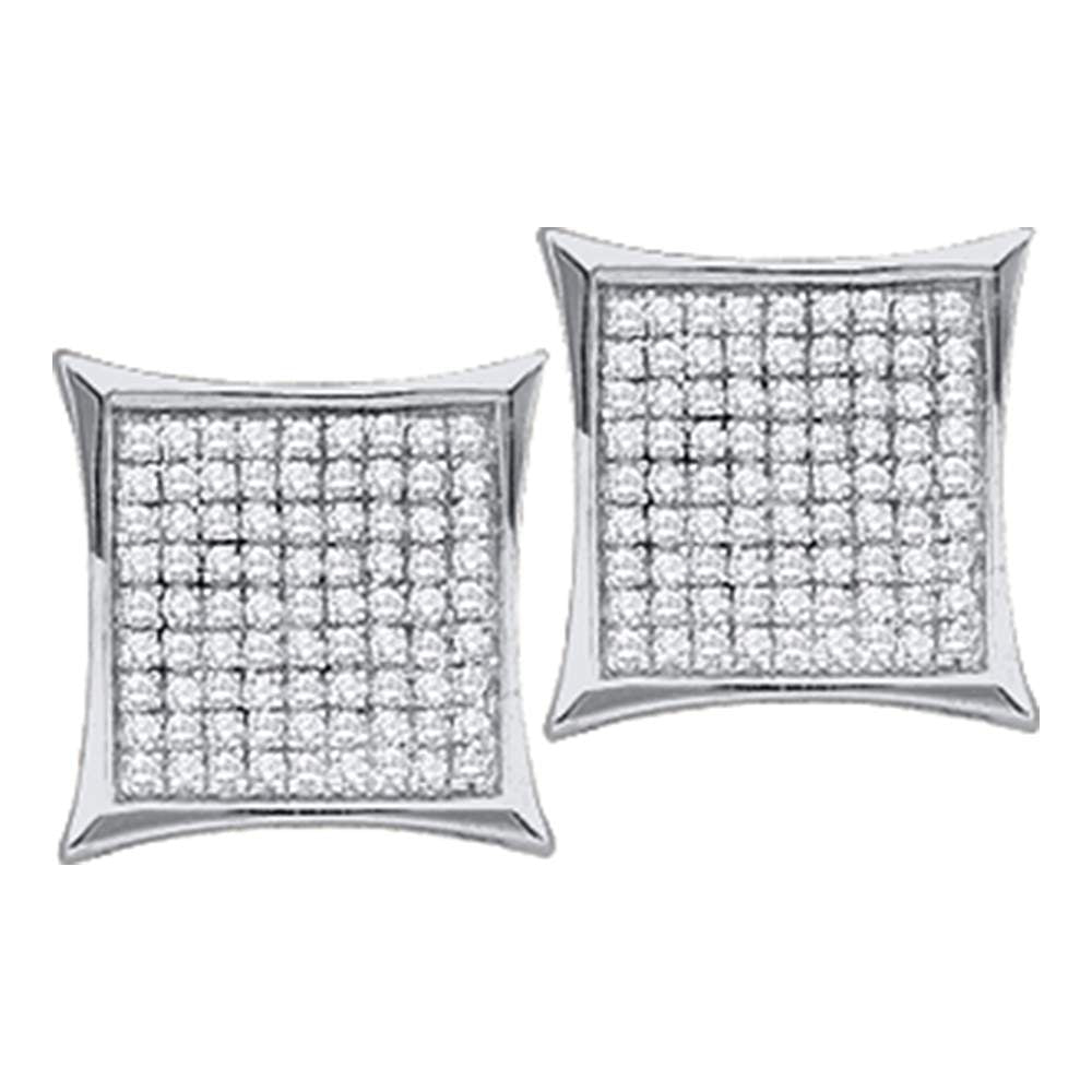 10kt White Gold Womens Round Diamond Square Kite Cluster Stud Earrings 1/10 Cttw