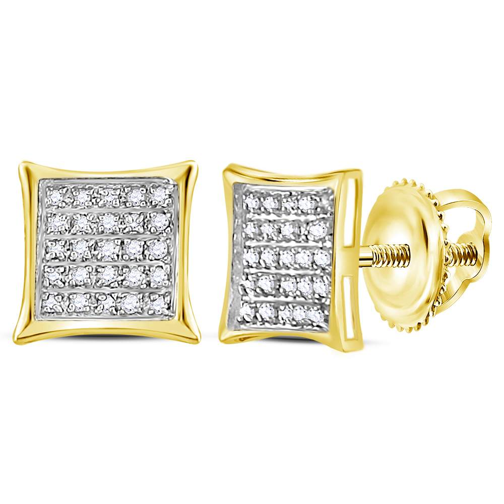 10kt Yellow Gold Womens Round Diamond Square Kite Cluster Earrings 1/6 Cttw