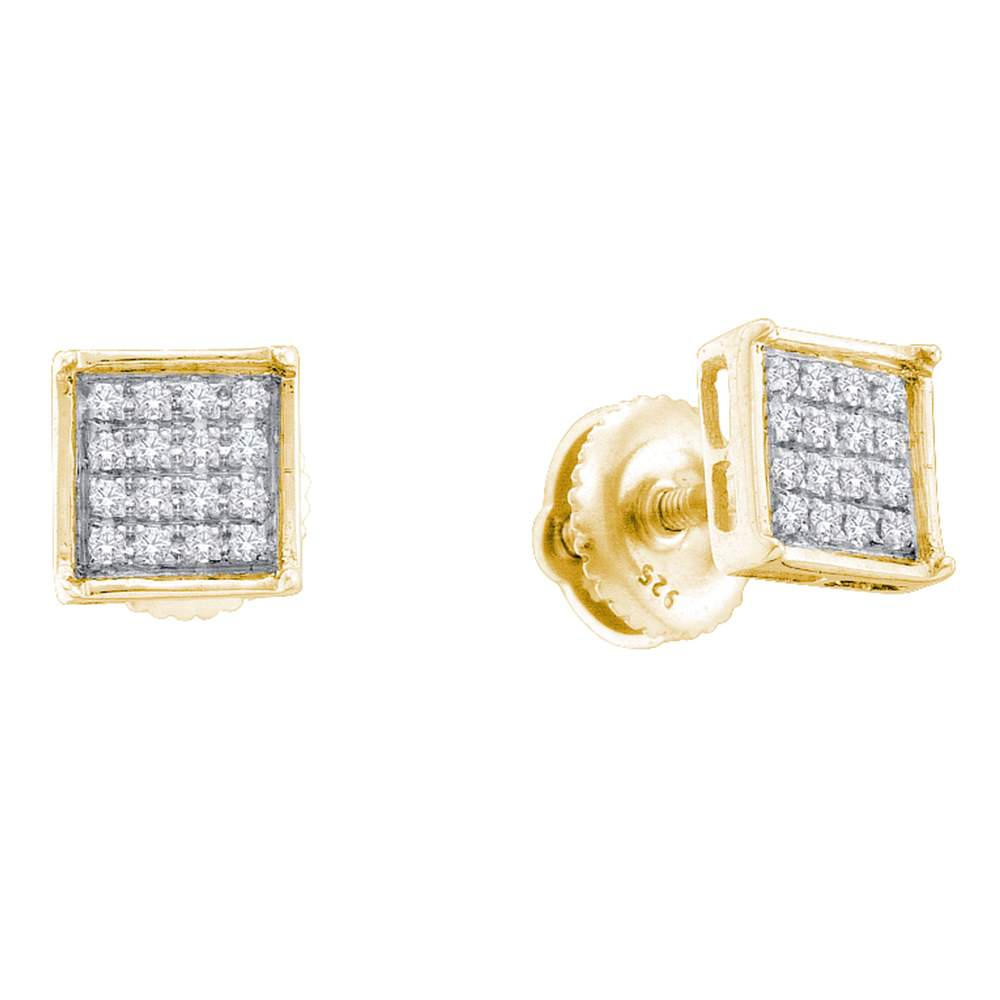 14kt Yellow Gold Womens Round Diamond Square Cluster Earrings 1/10 Cttw