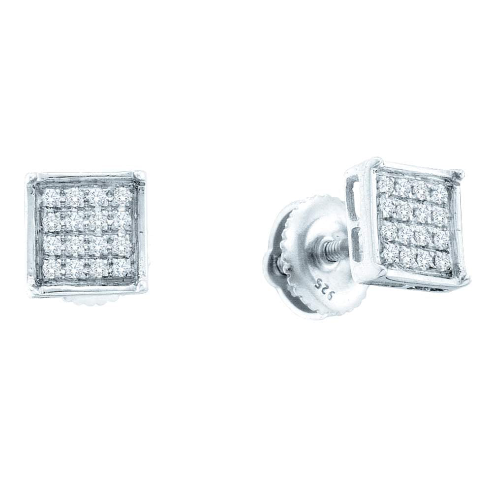 14kt White Gold Womens Round Diamond Square Cluster Earrings 1/10 Cttw