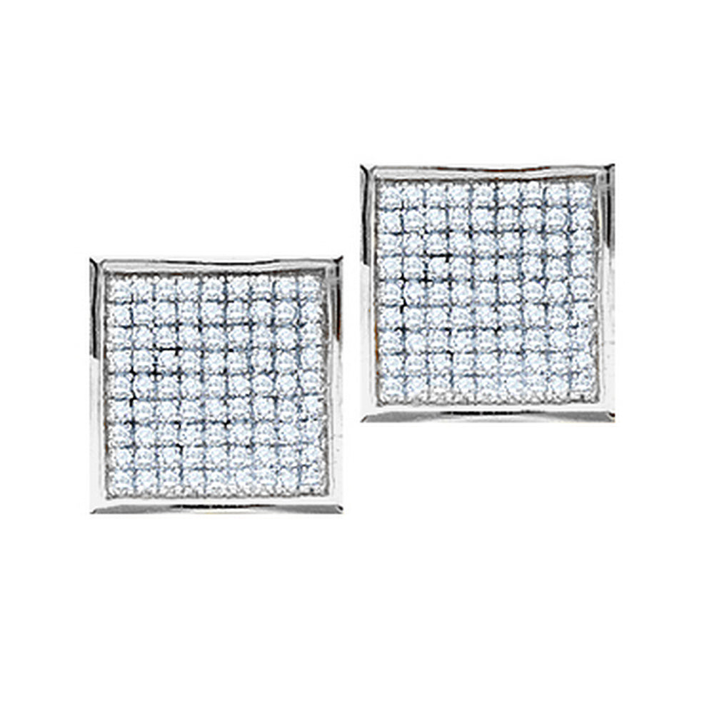 10kt White Gold Womens Round Pave-set Diamond Square Cluster Earrings 3/8 Cttw