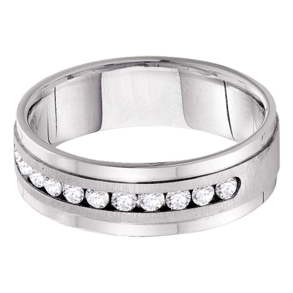 14kt White Gold Mens Round Diamond Wedding Band Ring 1/2 Cttw