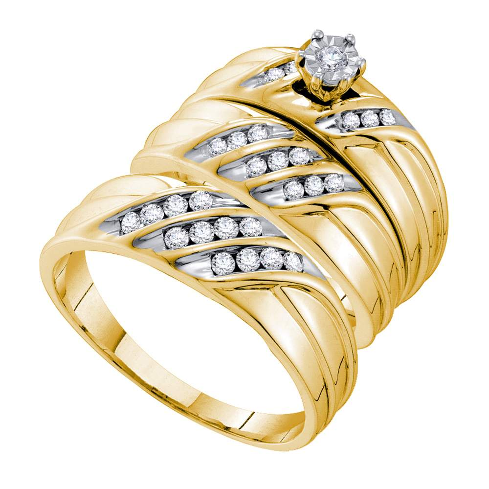 14kt Yellow Gold His & Hers Round Diamond Solitaire Matching Bridal Wedding Ring Band Set 3/8 Cttw