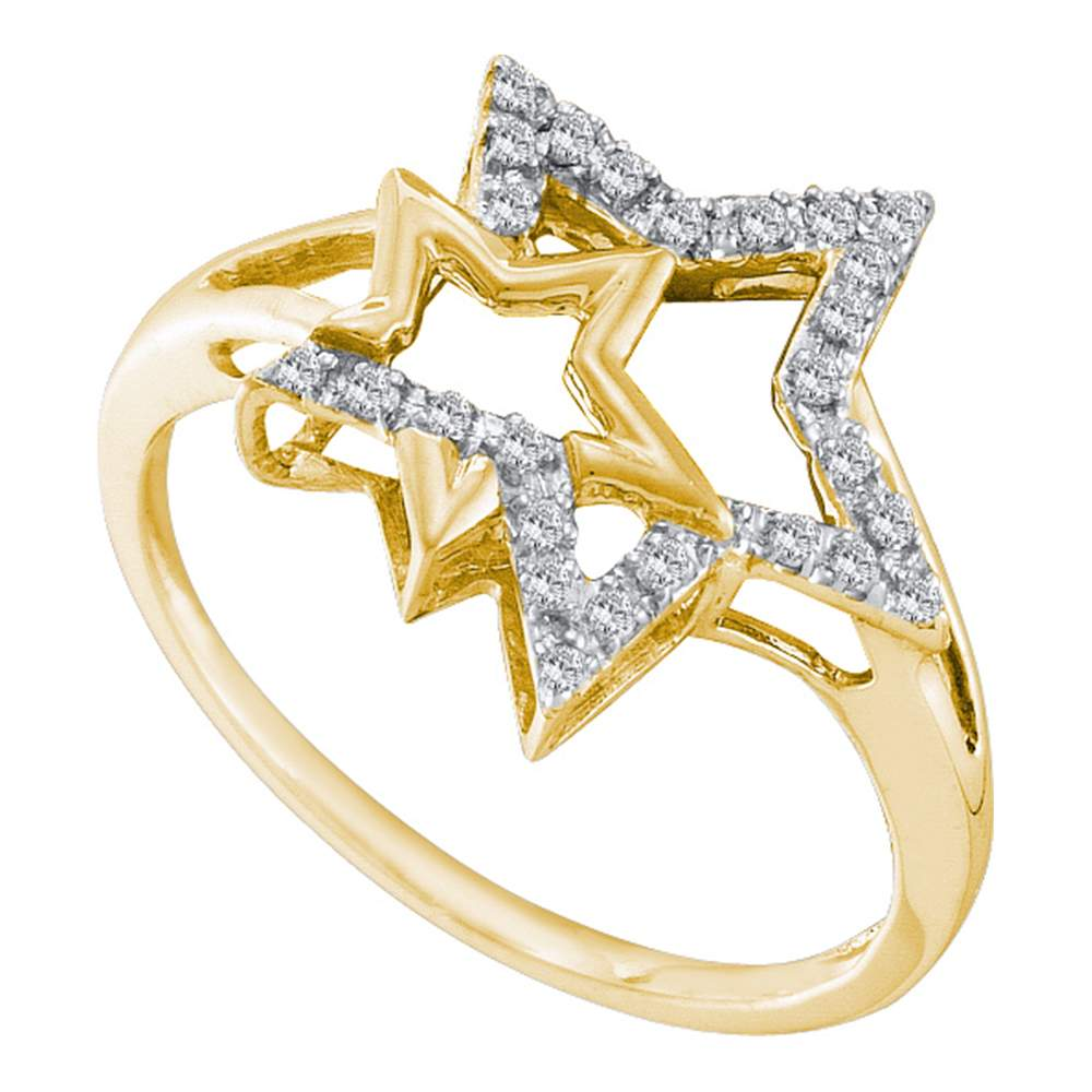 10kt Yellow Gold Womens Round Diamond Double Star Outline Ring 1/10 Cttw