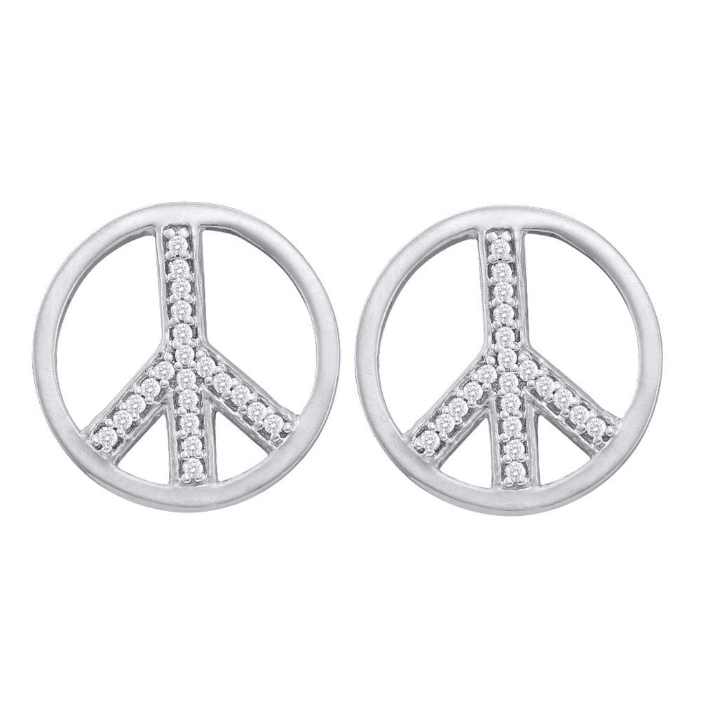 10kt White Gold Womens Round Diamond Peace Sign Stud Earrings 1/6 Cttw