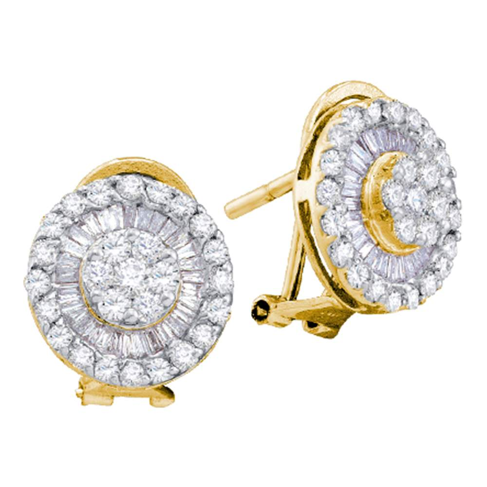 14kt Yellow Gold Womens Round Diamond Cluster French-clip Earrings 1-1/10 Cttw