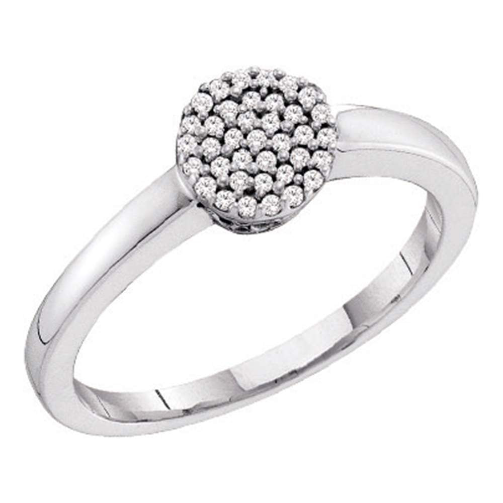 10kt White Gold Womens Round Diamond Simple Cluster Ring 1/8 Cttw