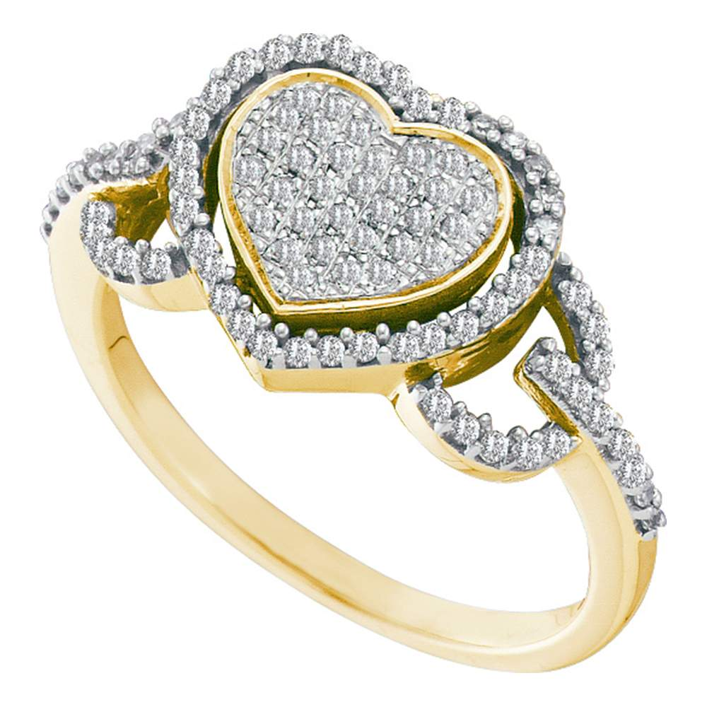 10kt Yellow Gold Womens Round Diamond Heart Frame Cluster Ring 1/3 Cttw