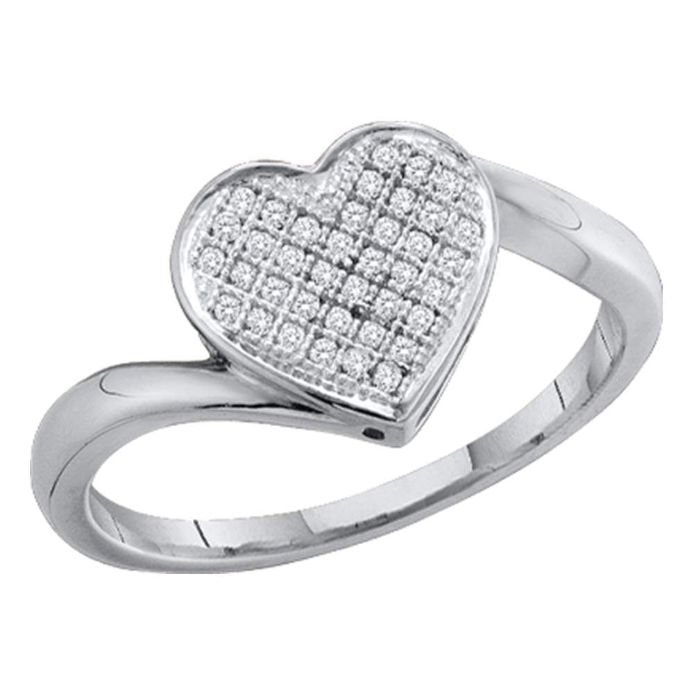 Sterling Silver Womens Round Pave-set Diamond Heart Cluster Ring 1/20 Cttw