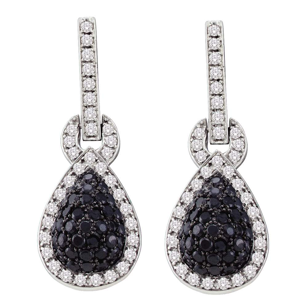 10kt White Gold Womens Round Black Color Enhanced Diamond Teardrop Dangle Earrings 1-3/4 Cttw