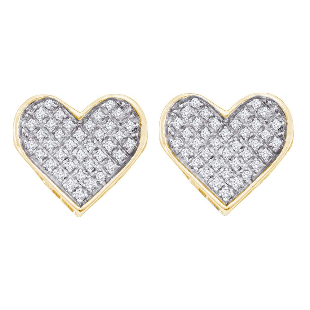 Yellow-tone Sterling Silver Womens Round Diamond Heart Cluster Earrings 1/4 Cttw