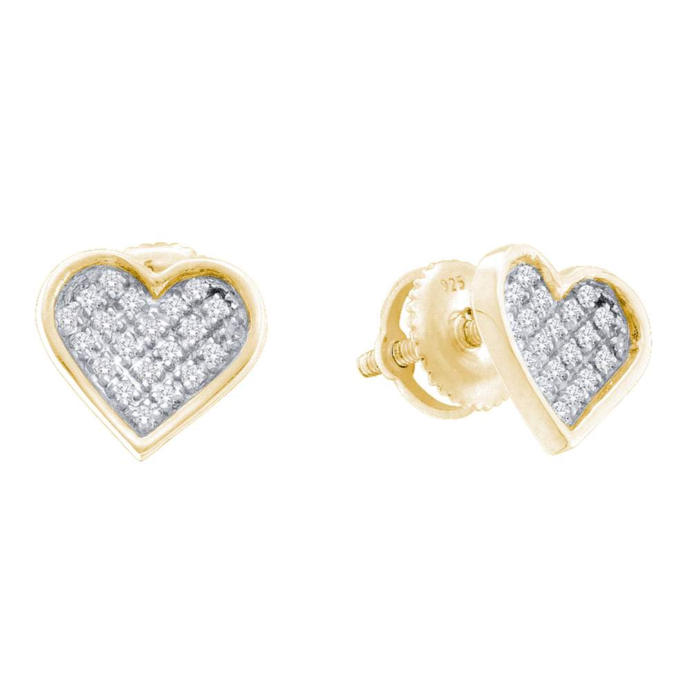 Sterling Silver Womens Round Diamond Yellow-tone Heart Love Cluster Earrings 1/10 Cttw