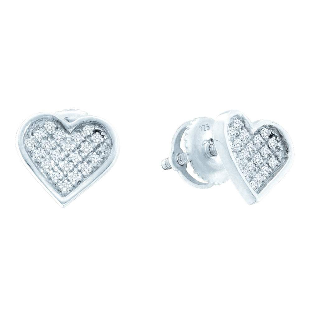 Sterling Silver Womens Round Diamond Heart Love Cluster Earrings 1/10 Cttw