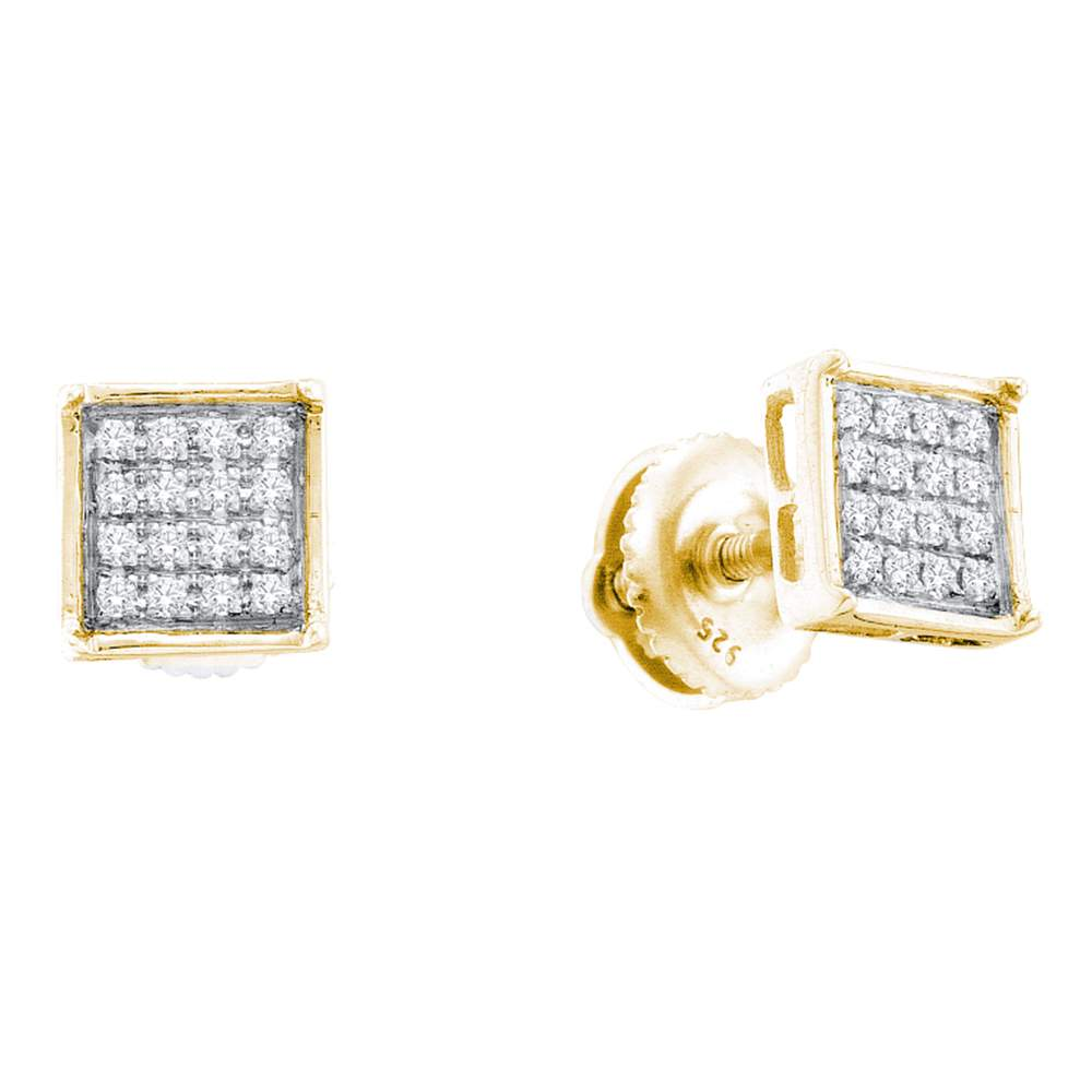 Yellow-tone Sterling Silver Womens Round Diamond Square Cluster Screwback Earrings 1/10 Cttw