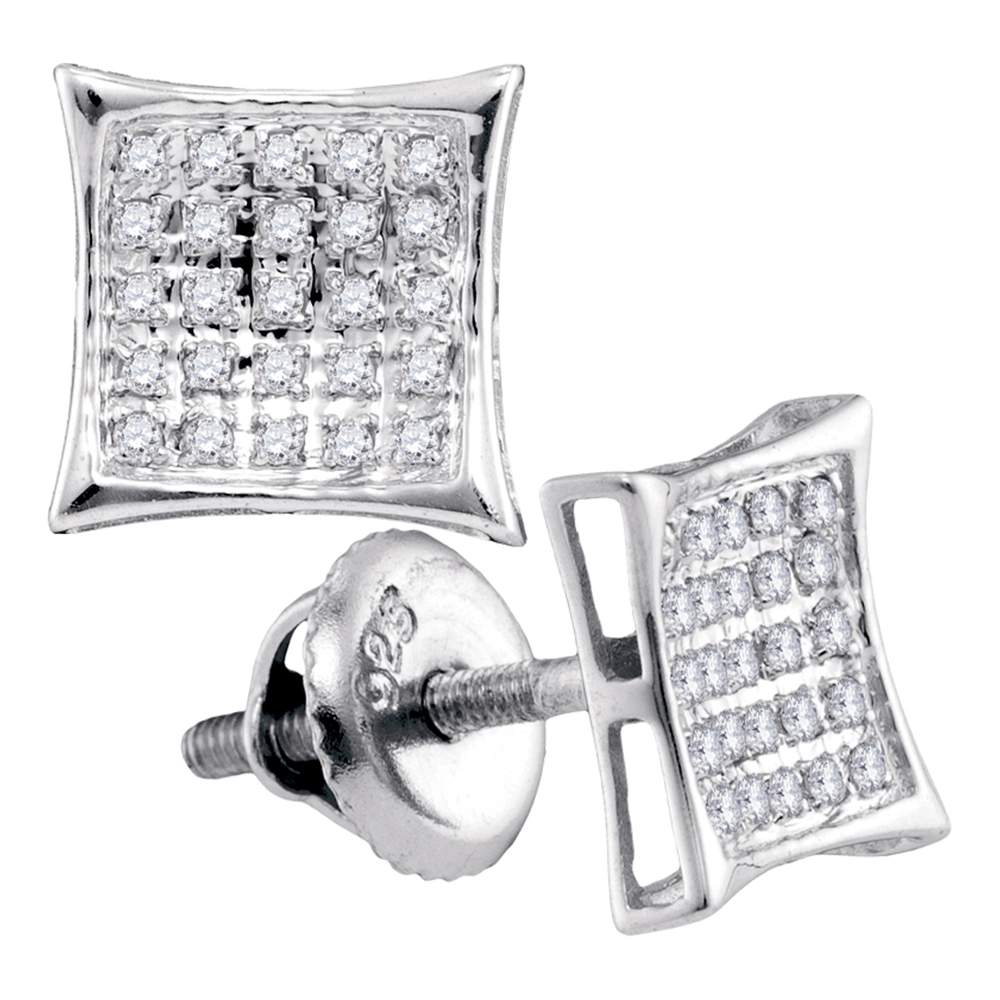 Sterling Silver Womens Round Diamond Square Kite Cluster Stud Earrings 1/6 Cttw