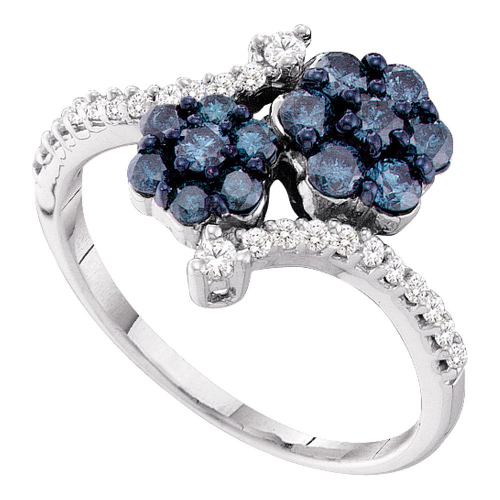 10kt White Gold Womens Round Blue Color Enhanced Diamond Double Flower Cluster Ring 3/4 Cttw