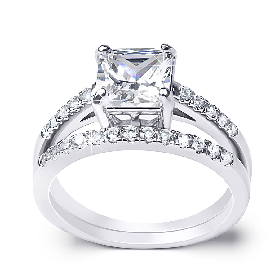 Womens 1.75 CT Carat Engagement RING Wedding BAND Set White Gold Plated