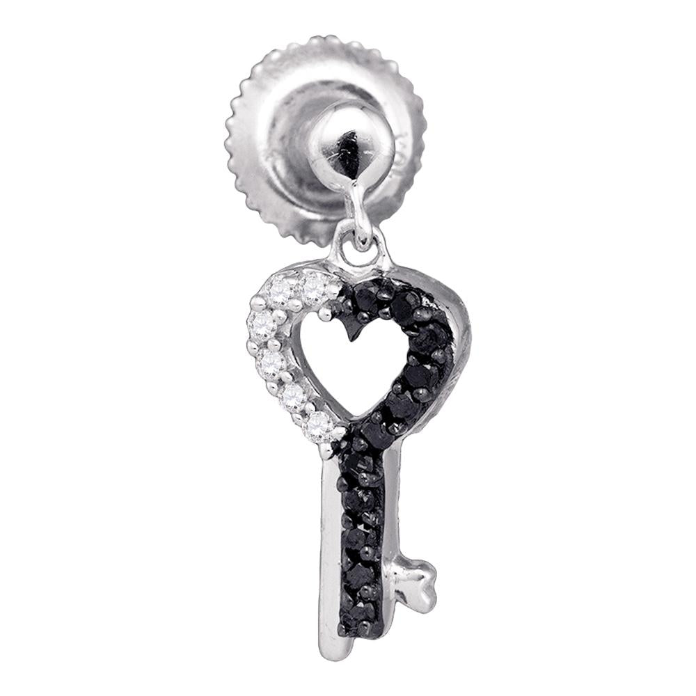 10kt White Gold Womens Round Black Color Enhanced Diamond Key Heart Dangle Earrings 1/6 Cttw