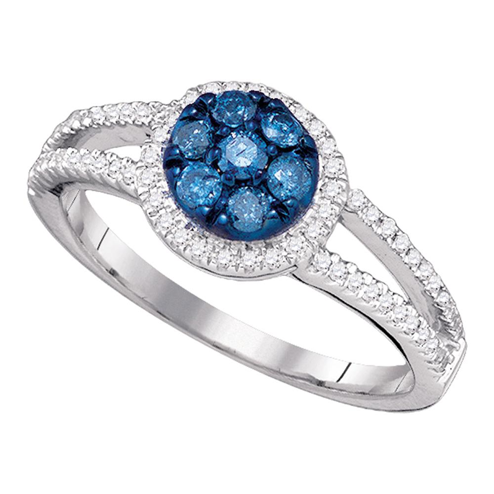 10kt White Gold Womens Round Blue Color Enhanced Diamond Cluster Ring 3/8 Cttw