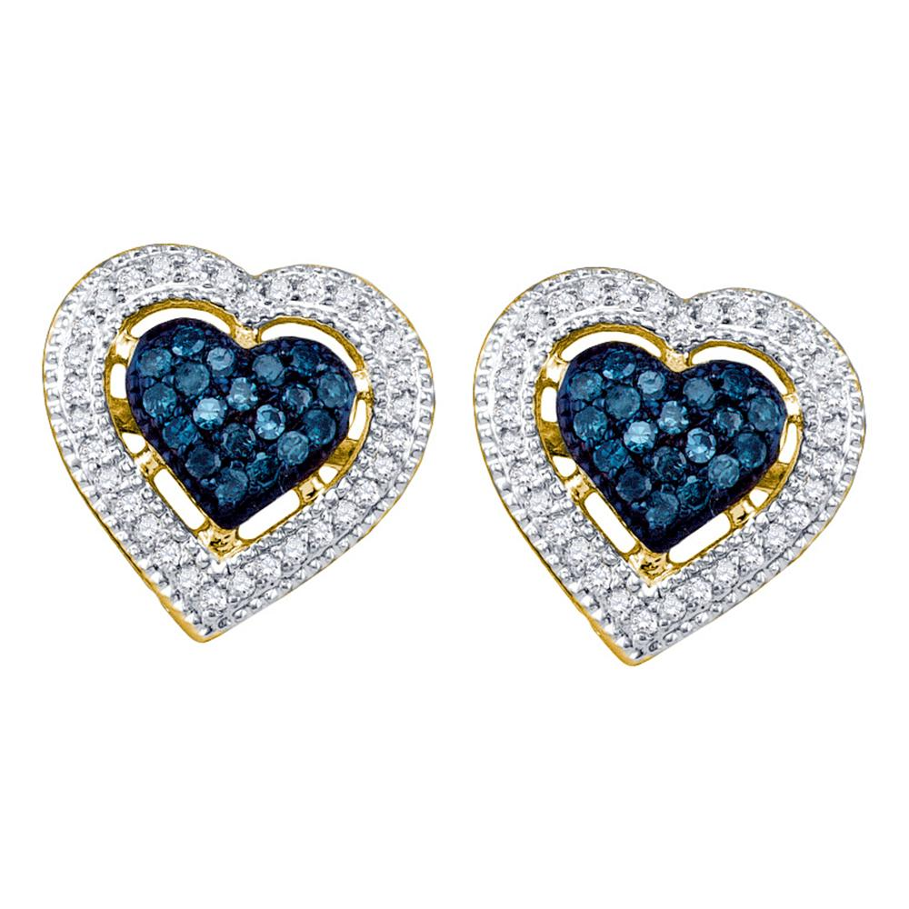 10kt Yellow Gold Womens Round Blue Color Enhanced Diamond Heart Love Screwback Earrings 3/8 Cttw