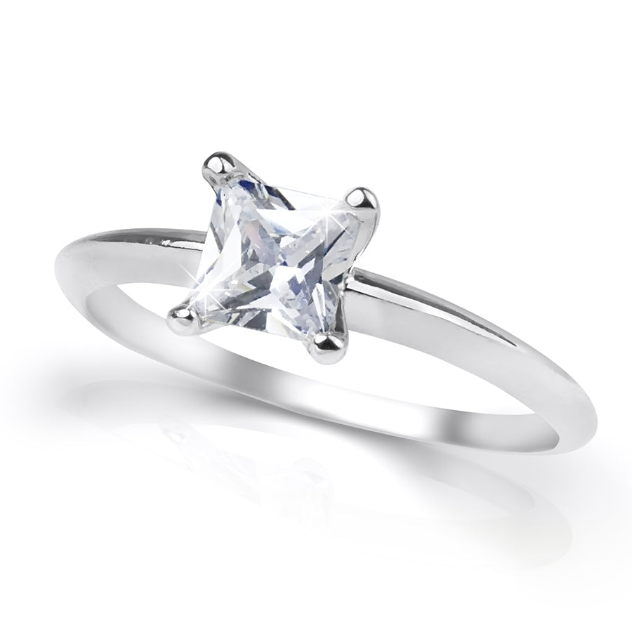 0.65 Carat CT PRINCESS CUT Engagement RING White Gold Plated SIZE 5-9