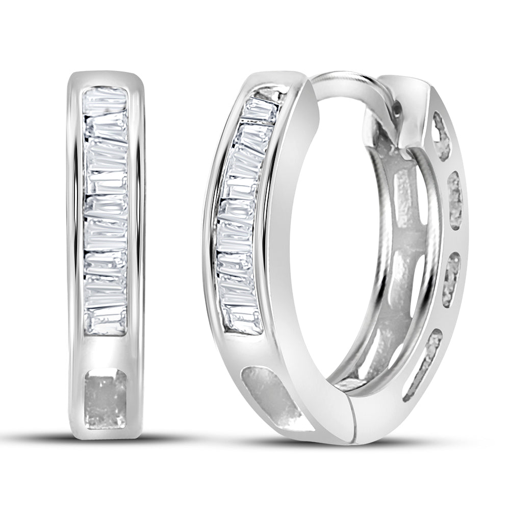 Sterling Silver Womens Baguette Diamond Huggie Earrings 1/6 Cttw