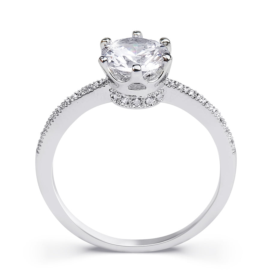 1.25 CT Carat ROUND CUT Wedding Engagement RING White Gold Plated SIZE 5-9