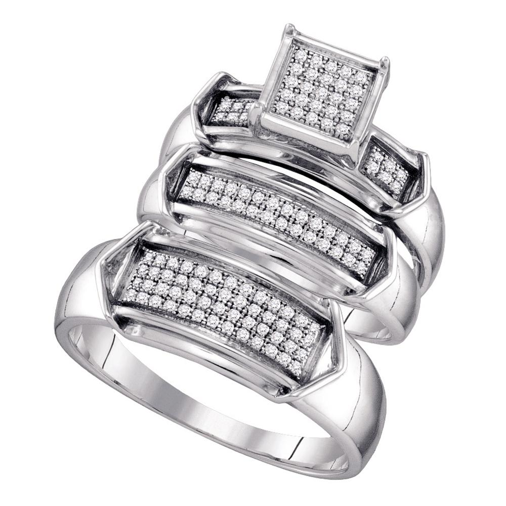 Sterling Silver His & Hers Round Diamond Cluster Matching Bridal Wedding Ring Band Set 1/3 Cttw