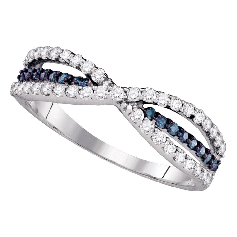 14kt White Gold Womens Round Blue Color Enhanced Diamond Band Ring 1/2 Cttw