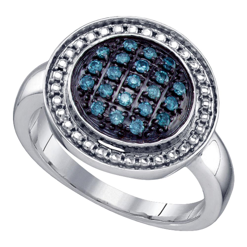 Sterling Silver Womens Round Blue Color Enhanced Diamond Circle Cluster Ring 1/5 Cttw